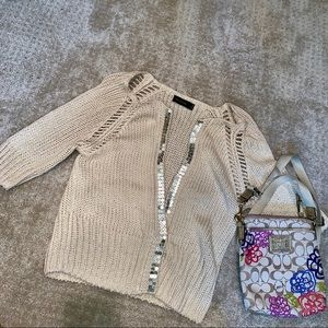 Sequin detail cropped sleeve cardigan